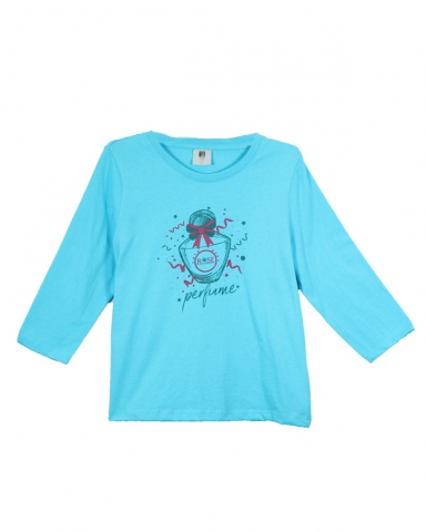 GIRLS ROSE PERFUME GRAPHIC TEE IN MID BLUE
