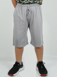 HUGO SOLID KNIT BERMUDA SHORTS IN MID GREY