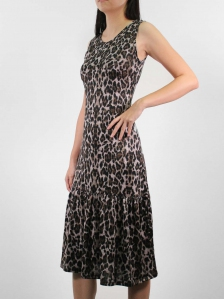 HEBE PRINTED SLEEVELESS DRESS IN DARK BROWN