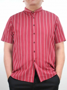 HARRIS MANDARIN COLLARED SHIRT IN DARK RED