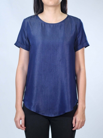 NEOL ROUND NECK SHORT SLEEVE BLOUSE IN DARK NAVY