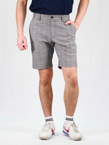 RHYAN CHECKED BERMUDA SHORTS IN MID GREY