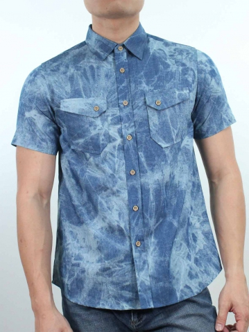 KENT PRINTED SHORT SLEEVE SHIRT IN MID BLUE