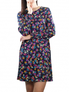 ELLA PRINTED LONG SLEEVE DRESS IN DARK NAVY