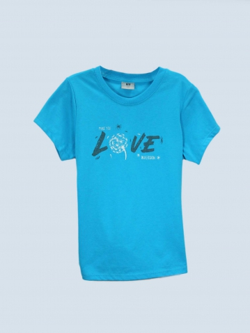 GIRLS LOVE INVERSION GRAPHIC TEE IN TURQUOISE