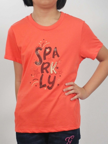 GIRLS SPARKLY GRAPHIC TEE IN MID ORANGE