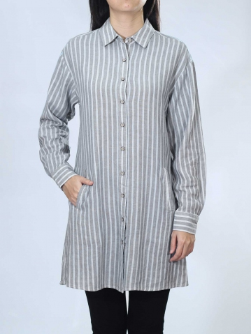 NEOL COLLARED LONG SLEEVE LONG SHIRT IN LIGHT GREY