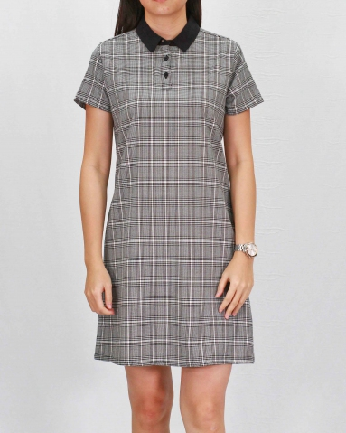 RAINE COLLARED SHORT SLEEVE DRESS IN BLACK