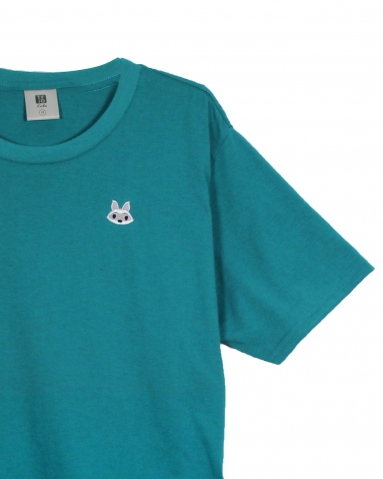 BOYS RACCOON EMBROIDERY LOGO TEE IN DARK TEAL