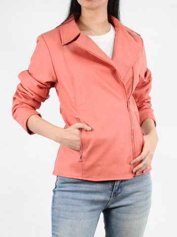 JANE PU LEATHER BIKER JACKET IN DARK PEACH