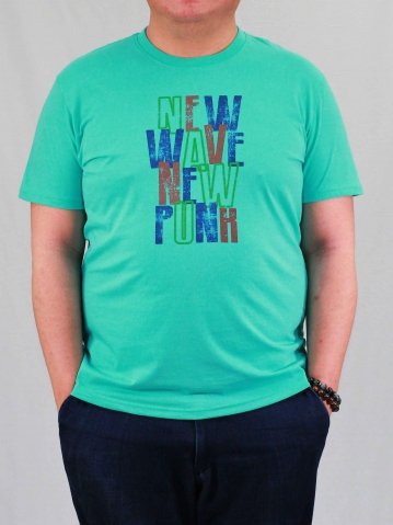 MEN PLUS SIZE NEW WAVE GRAPHIC TEE IN LIGHT TEAL