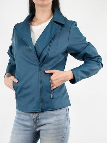 JANE PU LEATHER BIKER JACKET IN DARK TEAL