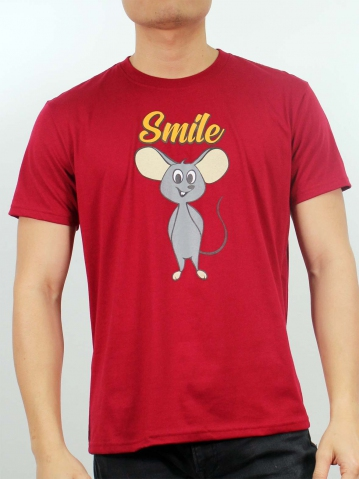 MEN SMILE MOUSE GRAPHIC TEE IN MAROON