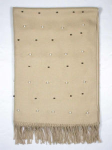 CHLOE BEADS TRIM SCARF IN BEIGE