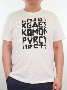 MEN PLUS SIZE WORDS PRINT GRAPHIC TEE IN OFF WHITE