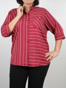HELEN MANDARIN COLLARED BLOUSE IN DARK RED