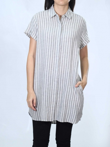 NEOL COLLARED SHORT SLEEVE LONG SHIRT IN LIGHT GREY