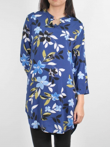 MOON PRINTED 3/4 SLEEVE TUNIC IN DARK ROYAL