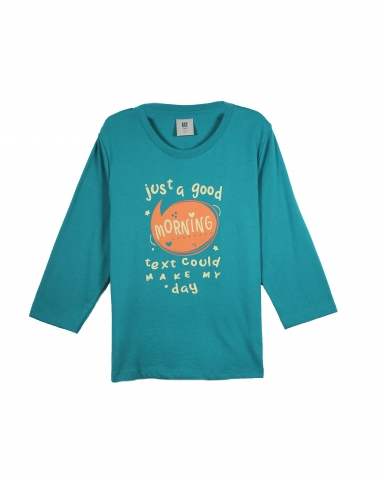 GIRLS JUST A GOOD MORNING GRAPHIC TEE IN DARK TEAL