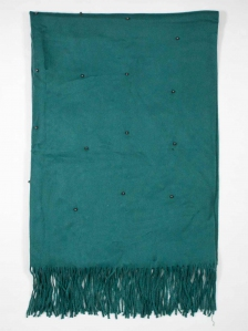 FIONA BEADS TRIM SCARF IN DARK GREEN