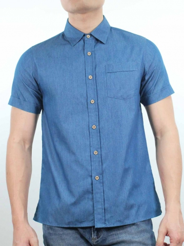 KENT COLLARED SHORT SLEEVE SHIRT IN MID BLUE