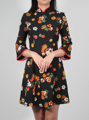 MOLLY PRINTED 3/4 SLEEVE CHEONGSAM IN BLACK