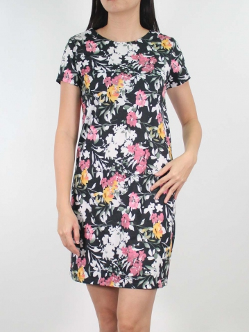 JANE PRINTED SHORT SLEEVE DRESS IN BLACK