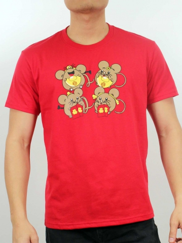 MEN FUNNY MOUSE GRAPHIC TEE IN RED
