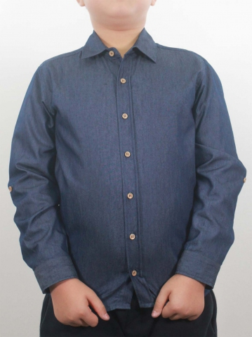 KEVIN COLLARED LONG SLEEVE SHIRT IN DARK BLUE