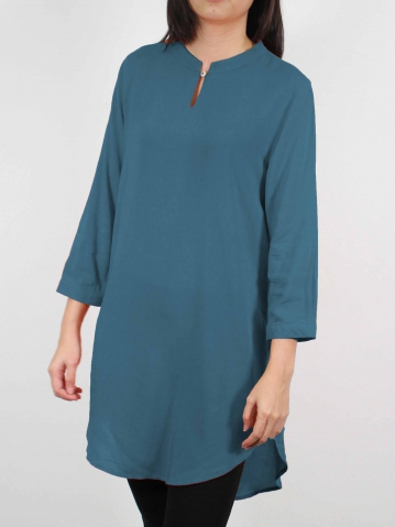 MOON SOLID COLOUR 3/4 SLEEVE TUNIC IN DARK TEAL