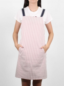 HEBE COTTON PINAFORE DRESS IN RED