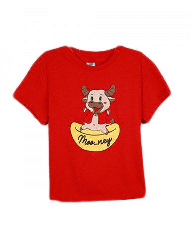 GIRLS MONEY COW GRAPHIC TEE IN RED