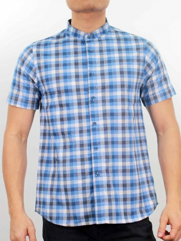 LUCAS MANDARIN COLLARED CHECK SHIRT IN MID BLUE