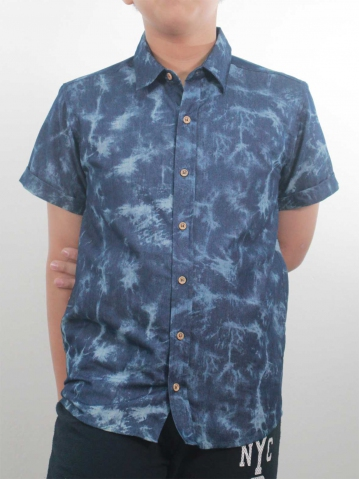 KEVIN COLLARED SHORT SLEEVE SHIRT IN DARK BLUE