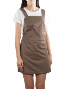ELLA CASUAL PINAFORE DRESS IN DARK BROWN