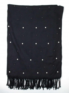 CHLOE BEADS TRIM SCARF IN BLACK