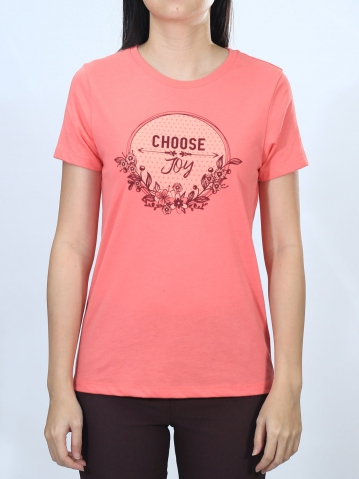 WOMEN CHOOSE JOY GRAPHIC TEE IN CORAL