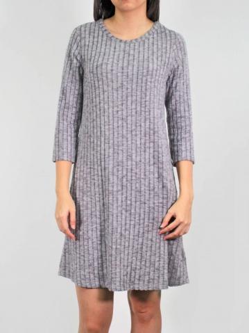 MOLLY ROUND NECK 3/4 SLEEVE DRESS IN MID GREY
