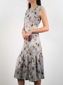 HEBE PRINTED SLEEVELESS DRESS IN BROWN