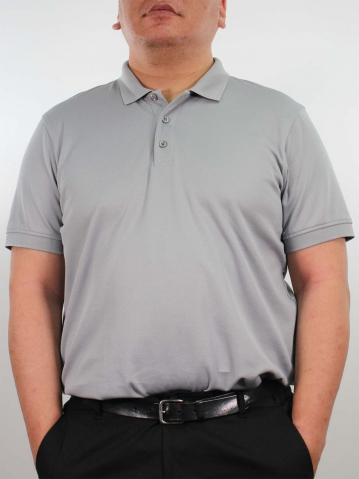 JOSEPH PLUS SIZE SHORT SLEEVE POLO IN DARK GREY