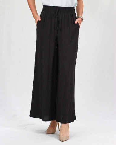 RAINE SOLID FLARED LONG PANTS IN BLACK