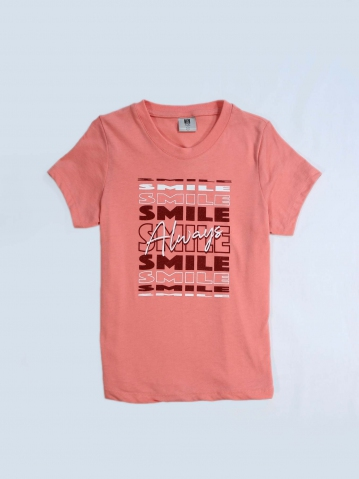 GIRLS SMILE ALWAYS GRAPHIC TEE IN MID PINK