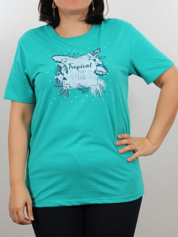 WOMEN PLUS SIZE TROPICAL GRAPHIC TEE IN MID TEAL