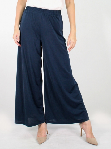 JANE SOLID FLARED LONG PANTS IN DARK NAVY