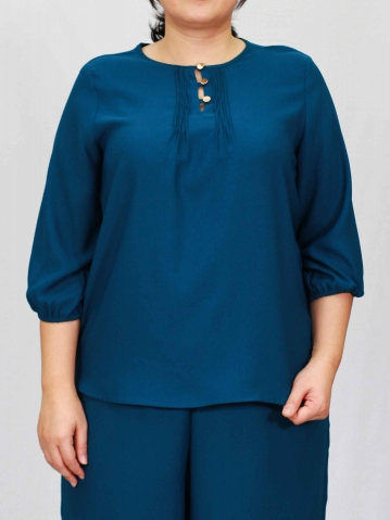PENNY ROUND NECK 3/4 SLEEVE BLOUSE IN PETROL
