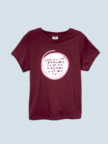 GIRLS YOUR DECISIONS GRAPHIC TEE IN BURGUNDY