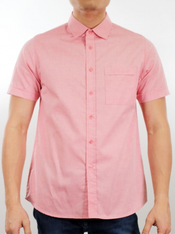 MARTIN COLLARED SHORT SLEEVE SHIRT IN RED