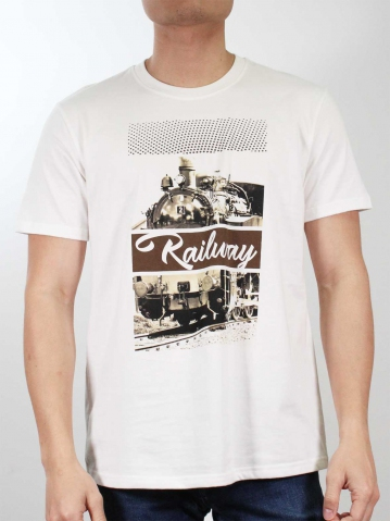 MEN RAILWAY IMAGE GRAPHIC TEE IN OFF WHITE