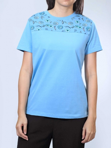 NEOL FLOWER PRINT PANEL SHORT SLEEVE TOP IN MID TEAL