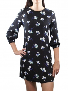 EVA PRINTED 3/4 SLEEVE DRESS IN BLACK